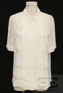 Chloe Ecru Sheer Silk Ruffle Front Short Sleeve Blouse, Size 40