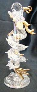 NEW Clear Glass Dragon On Glass Pole Red Eyes Golden