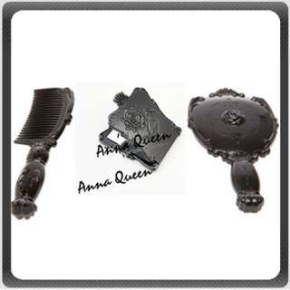 Anna Sui Style Black Rose Mirror or Hair Comb Set of 3