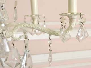 Shabby Cottage Chic 5 Arm Cream Chandelier French Style Antique