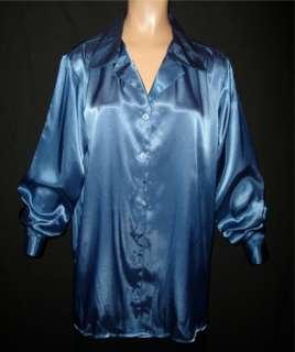 Shiny LIQUID SATIN Lapel BLOUSE 22W/24W Shirt Top Vtg Style NEW