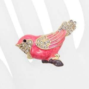 Bird Enamel Crystal Animal Stretch Fashion Ring Pink