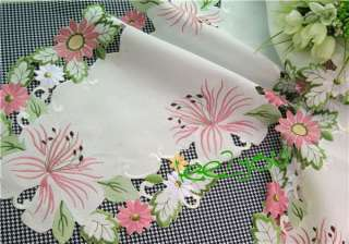 Lovely Country Spring Flowers Embroidered Table Runner 15x88 L050730