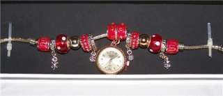 NEW FIGARO COUTURE Goldtone RED ENAMEL Charms BRACELET WATCH