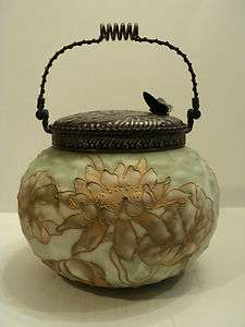MT. WASHINGTON CROWN MILANO ART GLASS CRACKER JAR / BISCUIT BARREL