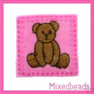 On Square Light Pink Teddy Bear Felt Patches 1 3/8  applique craft