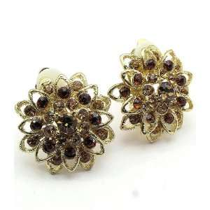 Brown Crystal Flower Gold Clip On Earrings Fashion Jewelry Jewelry