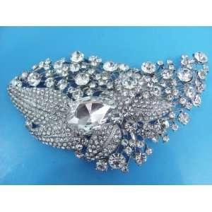 1Pc Silver Bridal Style Rhinestone Crystal Brooch Pin Free