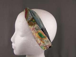 Paisley color block long tie wrap headband head scarf