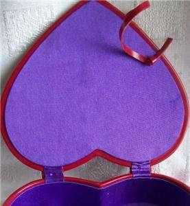 Pretty Red Heart Shaped Jewelry Box w/Purple Inside