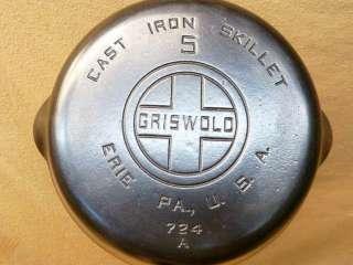 EXC Vintage Griswold Erie PA #5 Cast Iron Skillet Block Logo 724 A