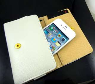 Case Purse Card Holder Wallet FOR iPhone 4 4G 4S 3GS White SC3