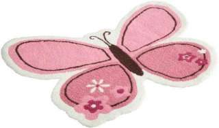 NEW CARTERS BUTTERFLY FLOWERS RUG, PINK/CHOC, 30 X 40