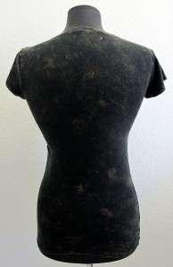 Womens Black T Shirt Tee Roses Short Sleeve Top NEW