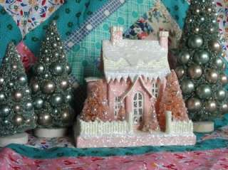 Small Pink Cottage Lighted Putz Christmas House Paper Mache