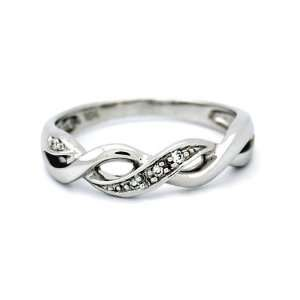 10k Solid White Gold Diamond Infinity Ring Size 6.75 Jewelry