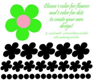 Polka Dot Daisy Flowers Daisies Girls Decor Stickers