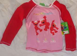 NWT Sz 3 3T Sesame Street Elmo Shirt Elmo Loves to Dance Long Sleeves