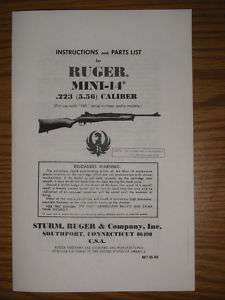 Ruger Mini 14 .223 Rifle Users Illustrated Parts Manual
