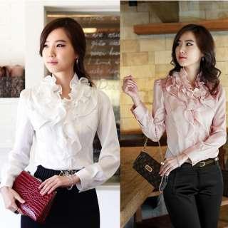Korea Womens Ruffle Collar Tops Long Sleeve Flouncing Blouse Button