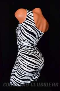 UV Glow Zebra Print One Shoulder Sexy Clubwear Lycra Bodycon Mini