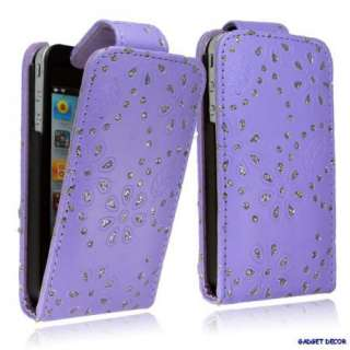 FOR APPLE IPHONE 4 4G PURPLE FLIP OPEN LEATHER BLING DIAMOND CASE
