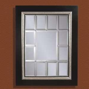 Bassett Mirror Black and Silver Leaf Rectangular Mirror
