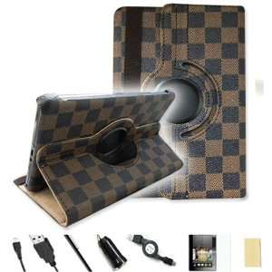 Black) 360° Rotating PU Leather Case Cover Value Package with Screen