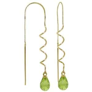 14k Solid Gold Threaded Earrings with Peridots Jewelry