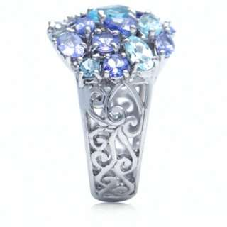 Natural Tanzanite & Blue Topaz White Gold Plated Sterling Silver