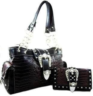 Western Rhinestone Cowgirl Belt Buckle Purse Handbag SET Crocodile