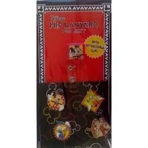 Disney Mickey & Friends Hip Lanyard Trading Pin Set w/ retractable
