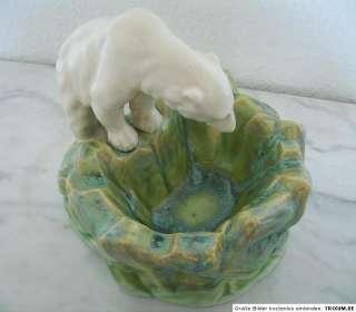 Art Deco POLAR BEAR figurine ART POTTERY BOWL iceberg ANTIQUE URBACH