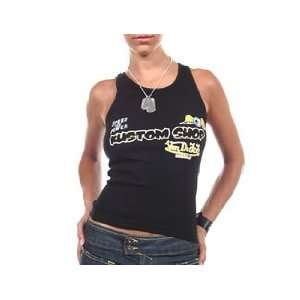 Von Dutch Kustom Shop Black Ribbed Tank Top, Small