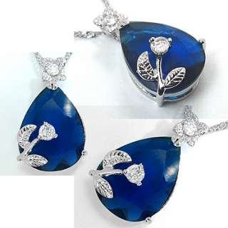 FASHION LADY JEWELRY PEAR CUT BLUE SAPPHIRE WHITE GOLD GP PENDANT FREE
