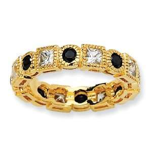 Gold plated Sterling Silver Black & White CZ Eternity Ring