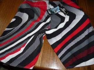 Oneill Sz 34 Black/Red Print Shorts S New