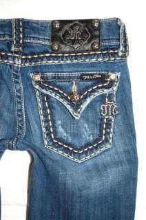 Womens MISS ME 25 caramel thick pick stitch jeans 14 girls buckle MEK