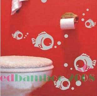 Fish Bubble Decor Mural Art Wall Sticker Decal Y382 (various colors