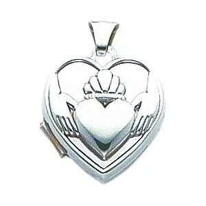 14K White Gold Claddagh Heart Locket Pendant Jewelry Jewelry