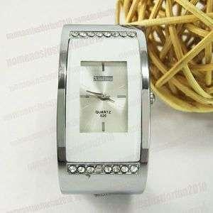 White Women Rectangle Bangle Bracelet Wrist Watch M430W