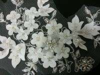 Silver & White Beads Satin Flower Motive Lace for Wedding Accessories