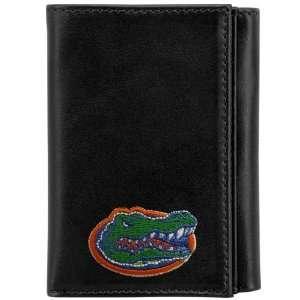 NCAA Florida Gators Black Leather Embroidered Tri Fold