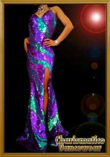 Custom PURPLE DIVA Sequin SHOW Drag queen pageant Gown