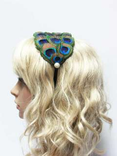 Peacock Fascsintor Feather Headband, with faux pearl Bridesmaid Gifts