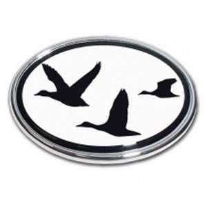 Duck Hunting Oval Chrome Auto Emblem