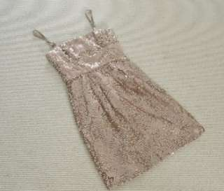 MAX AZRIA CAROL STRAPLESS SEQUINED Cocktail DRESS in CHAMPAGNE