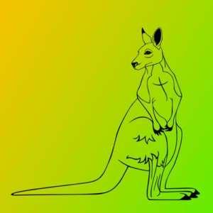 Kangaroo outback black wall art Vinyl Decal Sticker