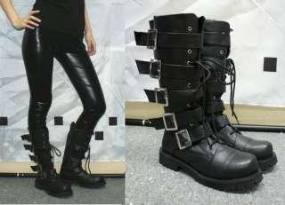 Punk Rock Emo Gothic Black biker boots shoes EUR 34 45