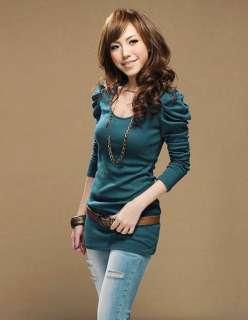 New Korea Women Puff sleeve Tops slim T shirts long sleeves